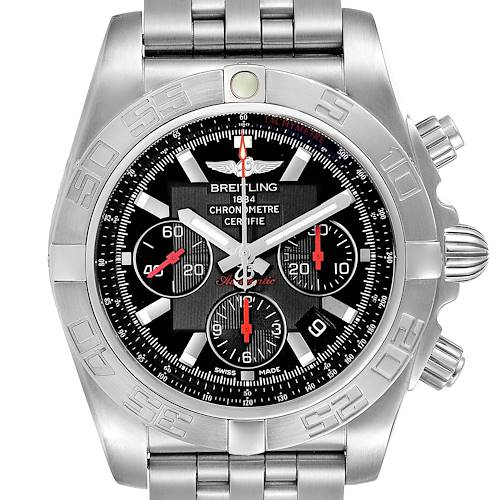 Photo of Breitling Chronomat 01 Black Dial Steel Limited Mens Watch AB0111 Box Papers