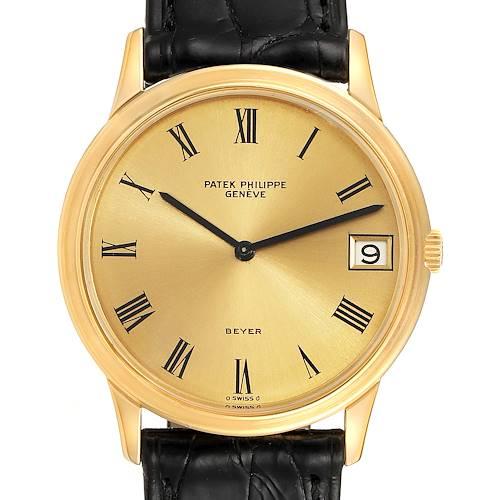 Photo of Patek Philippe Calatrava Yellow Gold Roman Dial Mens Vintage Watch 3593