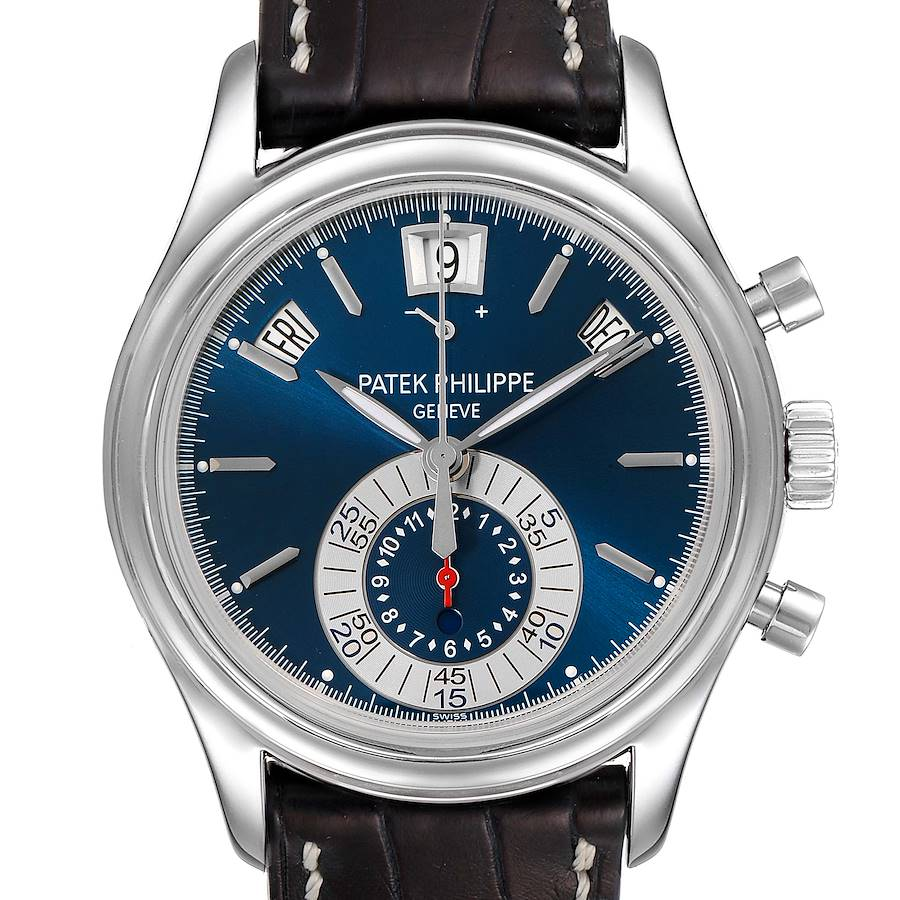 Patek Philippe Complications Annual Calendar White Gold Watch 5960 Box Papers SwissWatchExpo