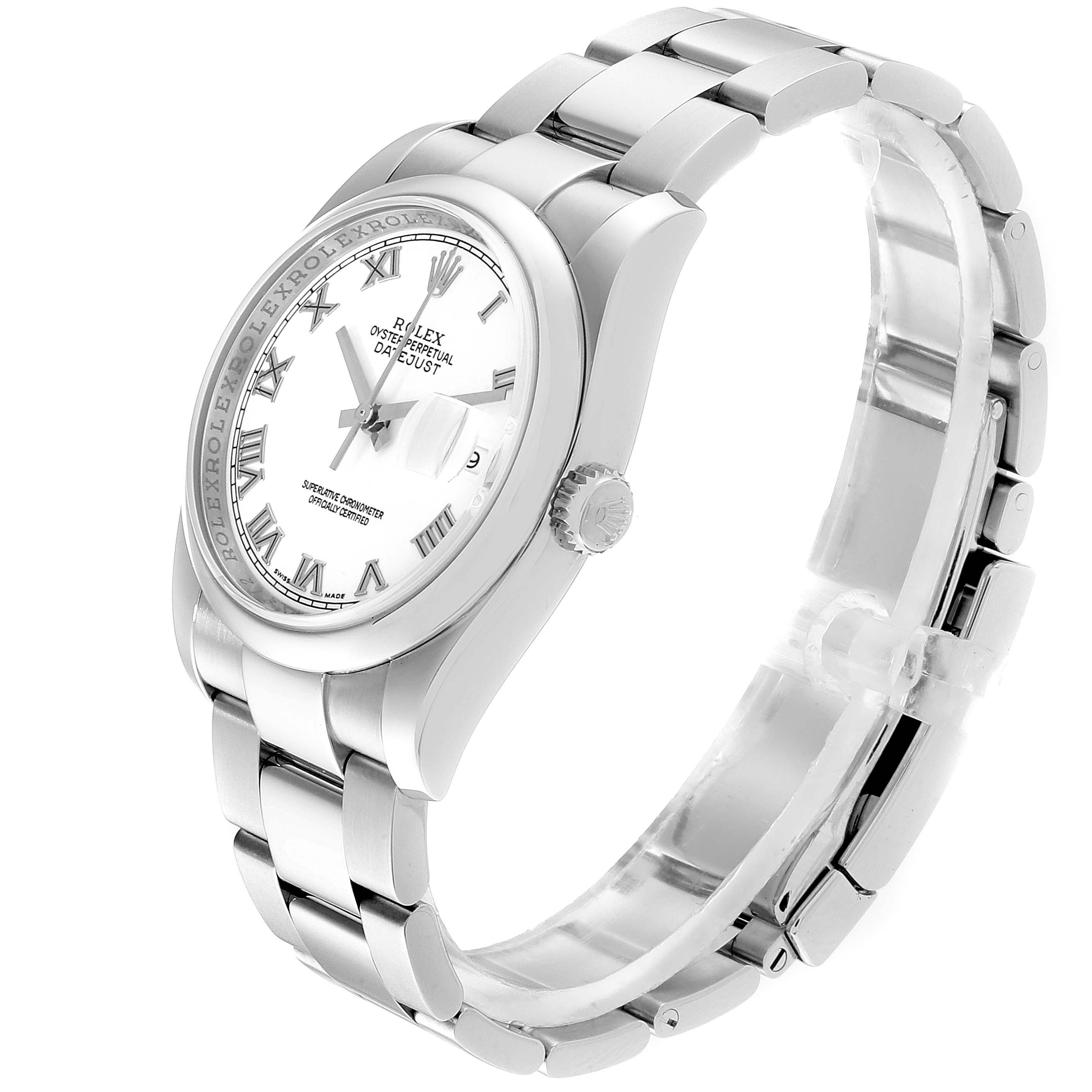 Rolex Datejust 36 White Roman Dial Steel Mens Watch 116200 SwissWatchExpo