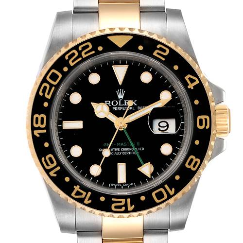 Photo of Rolex GMT Master II Yellow Gold Steel Mens Watch 116713 Box Card