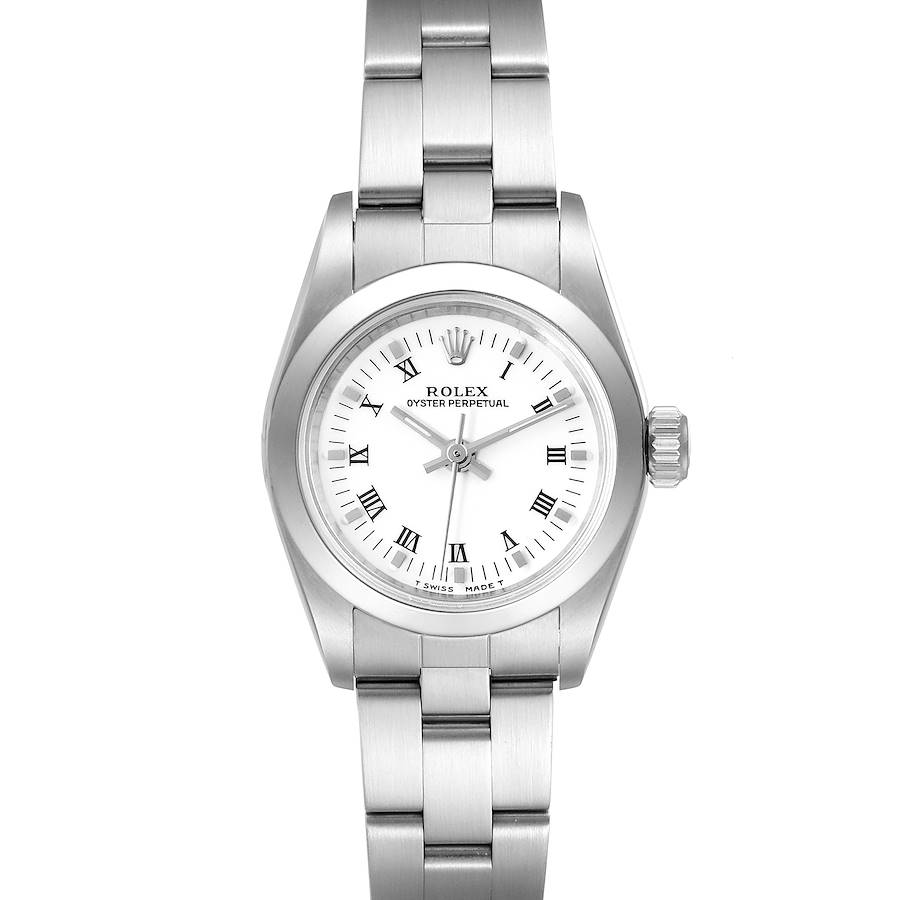 Rolex Oyster Perpetual Nondate White Dial Steel Ladies Watch 67180 Box Papers ONE LINK ADDED  SwissWatchExpo