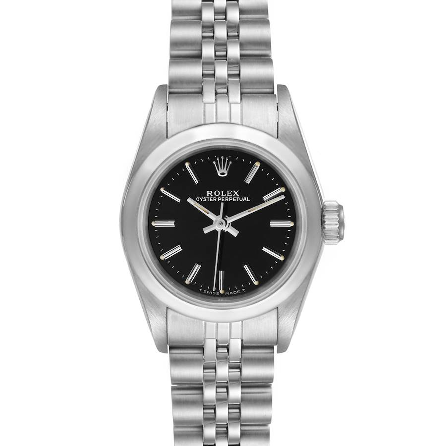 Rolex Oyster Perpetual Steel Black Dial Ladies Watch 67180 Box Papers SwissWatchExpo