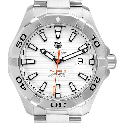 Photo of Tag Heuer Aquaracer White Dial Steel Mens Watch WAY2013 Card