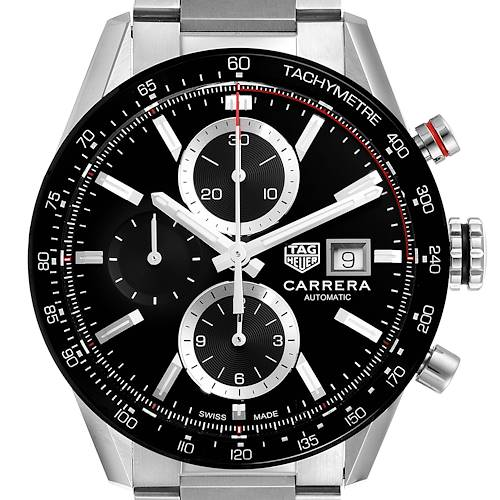 Photo of Tag Heuer Carrera Chronograph Black Dial Steel Mens Watch CBM2110 Box Card