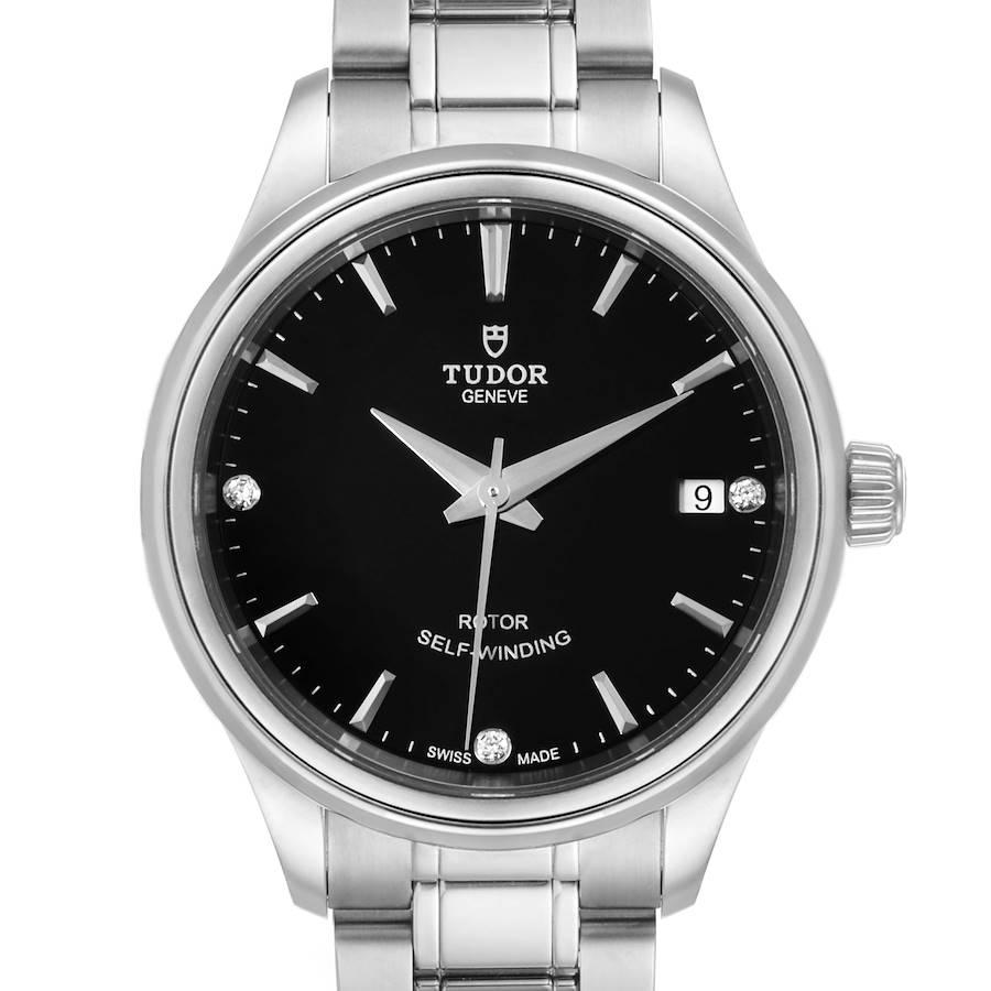 Tudor Style Date Black Dial Diamond Steel Ladies Watch M12300 Unworn SwissWatchExpo