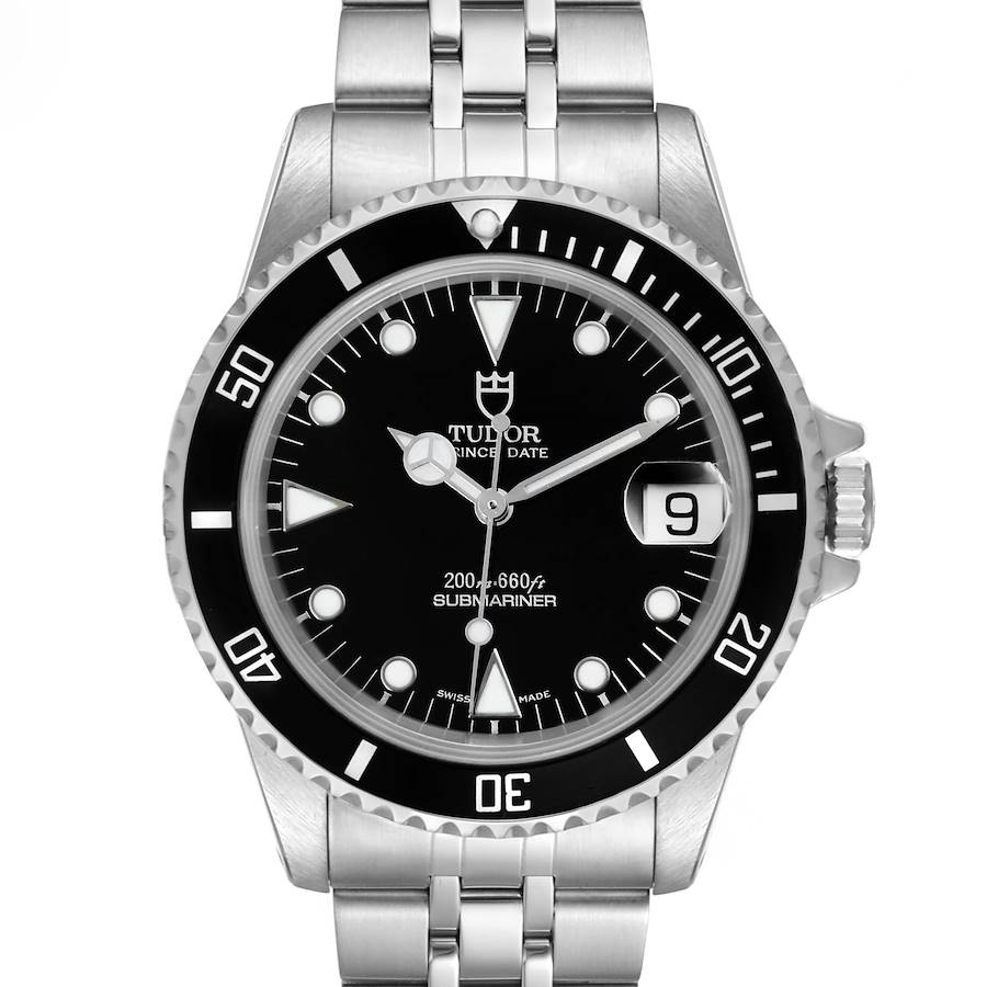 Tudor Submariner Prince Date Black Dial Steel Mens Watch 75190 Box Papers SwissWatchExpo