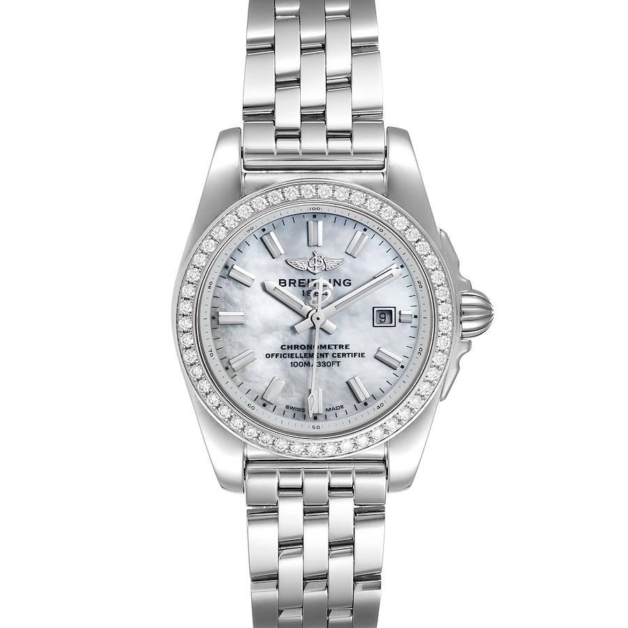 Breitling Galactic 29 MOP Diamond Steel Ladies Watch A72348 Unworn SwissWatchExpo