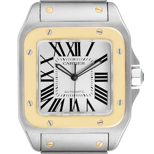 Photo of Cartier Santos 100 Steel Yellow Gold 38mm Mens Watch W200728G Box Papers