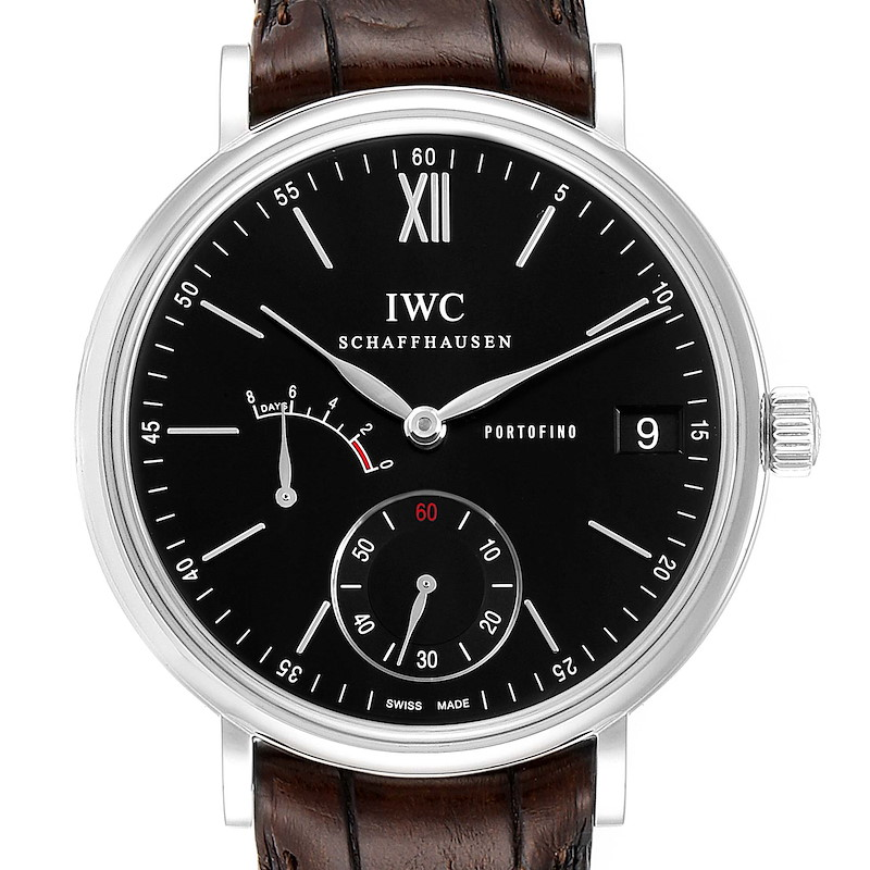 IWC Portofino 8 Days Power Reserve 45mm Black Dial Mens Watch IW510102 SwissWatchExpo