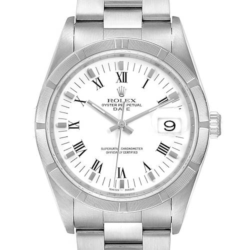 Photo of Rolex Date White Dial Oyster Bracelet Steel Mens Watch 15210