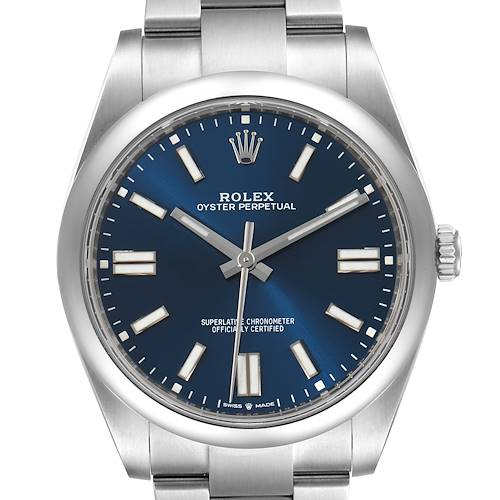 Photo of Rolex Oyster Perpetual 41mm Blue Dial Steel Mens Watch 124300 Unworn