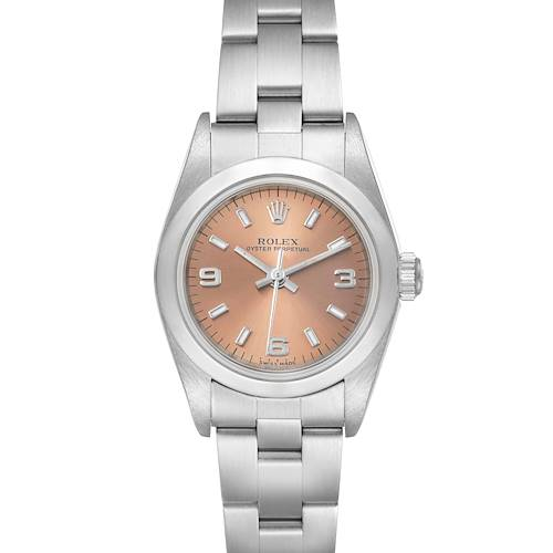 Photo of Rolex Oyster Perpetual Salmon Dial Domed Bezel Steel Ladies Watch 76080