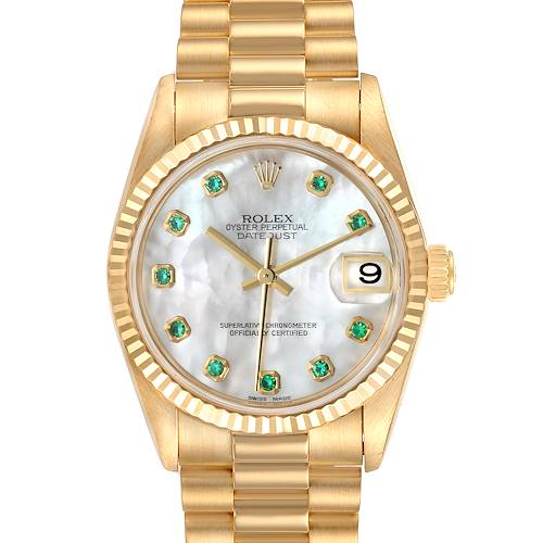 Photo of Rolex President Midsize Yellow Gold MOP Emerald Ladies Watch 78278