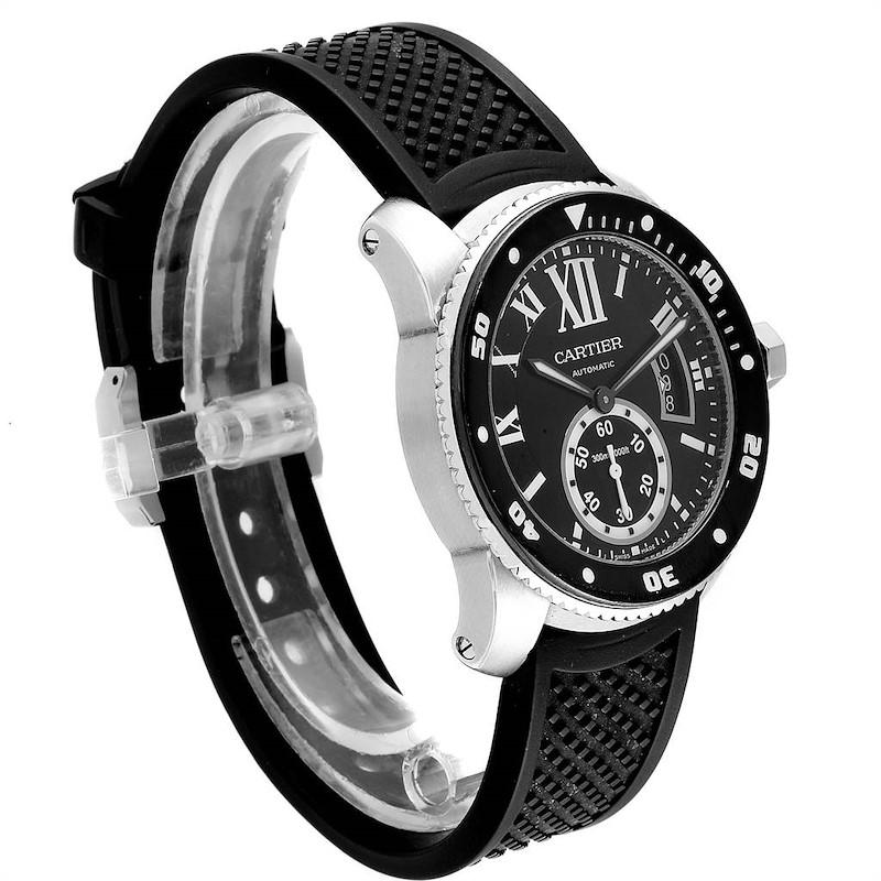 Cartier Calibre Diver Black Rubber Strap Steel Mens Watch W7100056 PARTIAL PAYMENT SwissWatchExpo