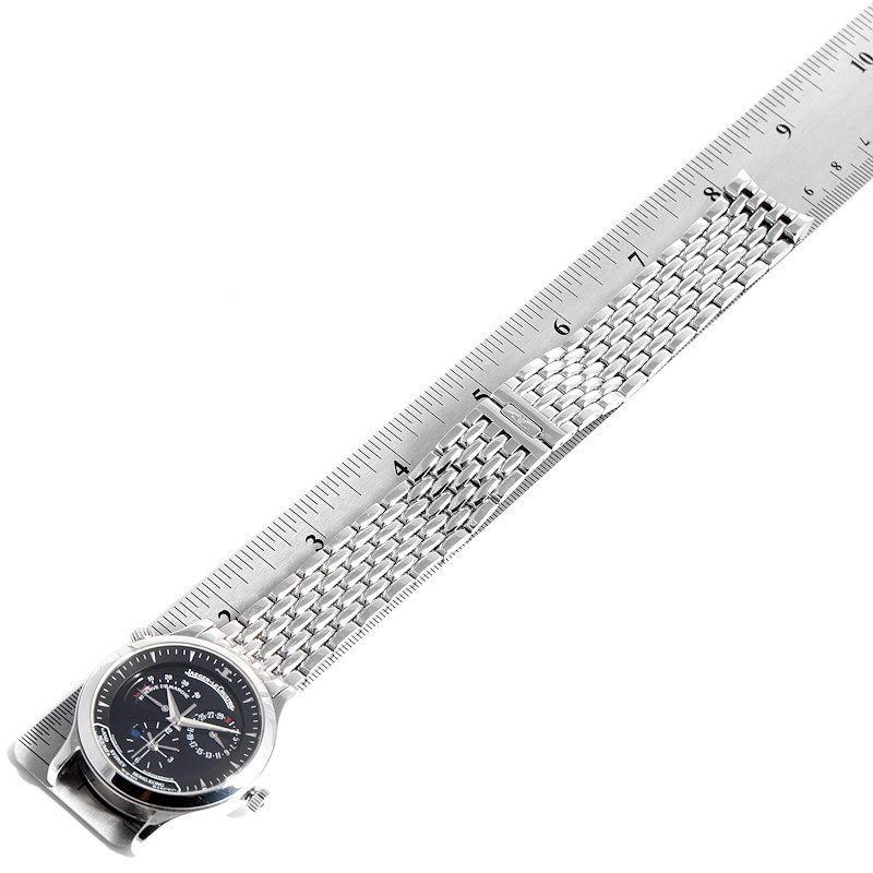 Jaeger Lecoultre Master Geographic Steel Mens Watch 142.8.92.S Q1428170 SwissWatchExpo