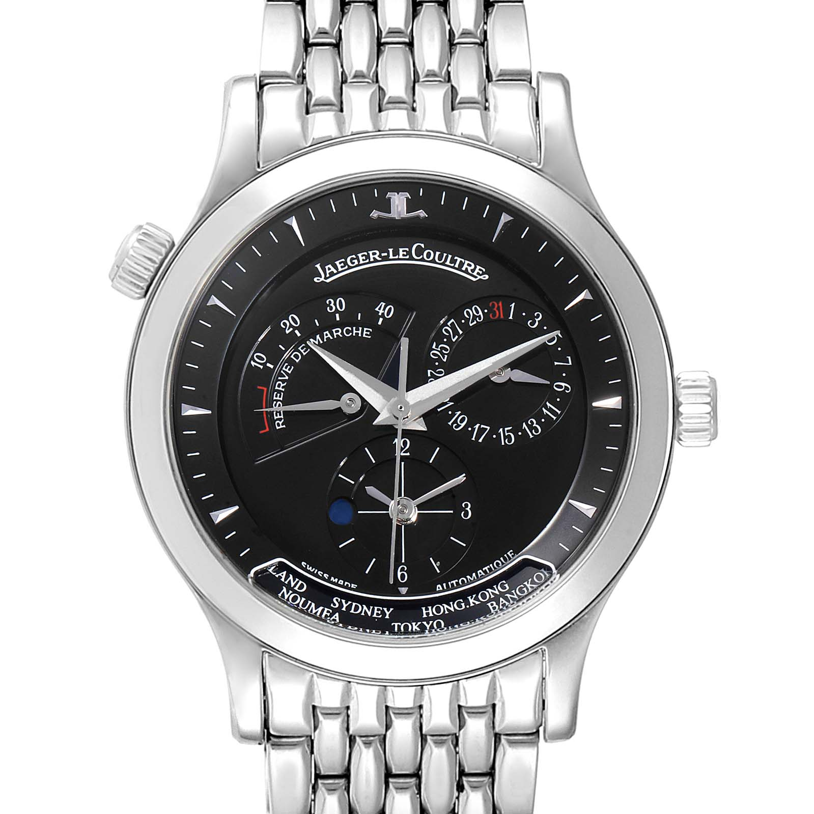 Jaeger Lecoultre Master Geographic Steel Mens Watch 142.8.92.S Q1428170