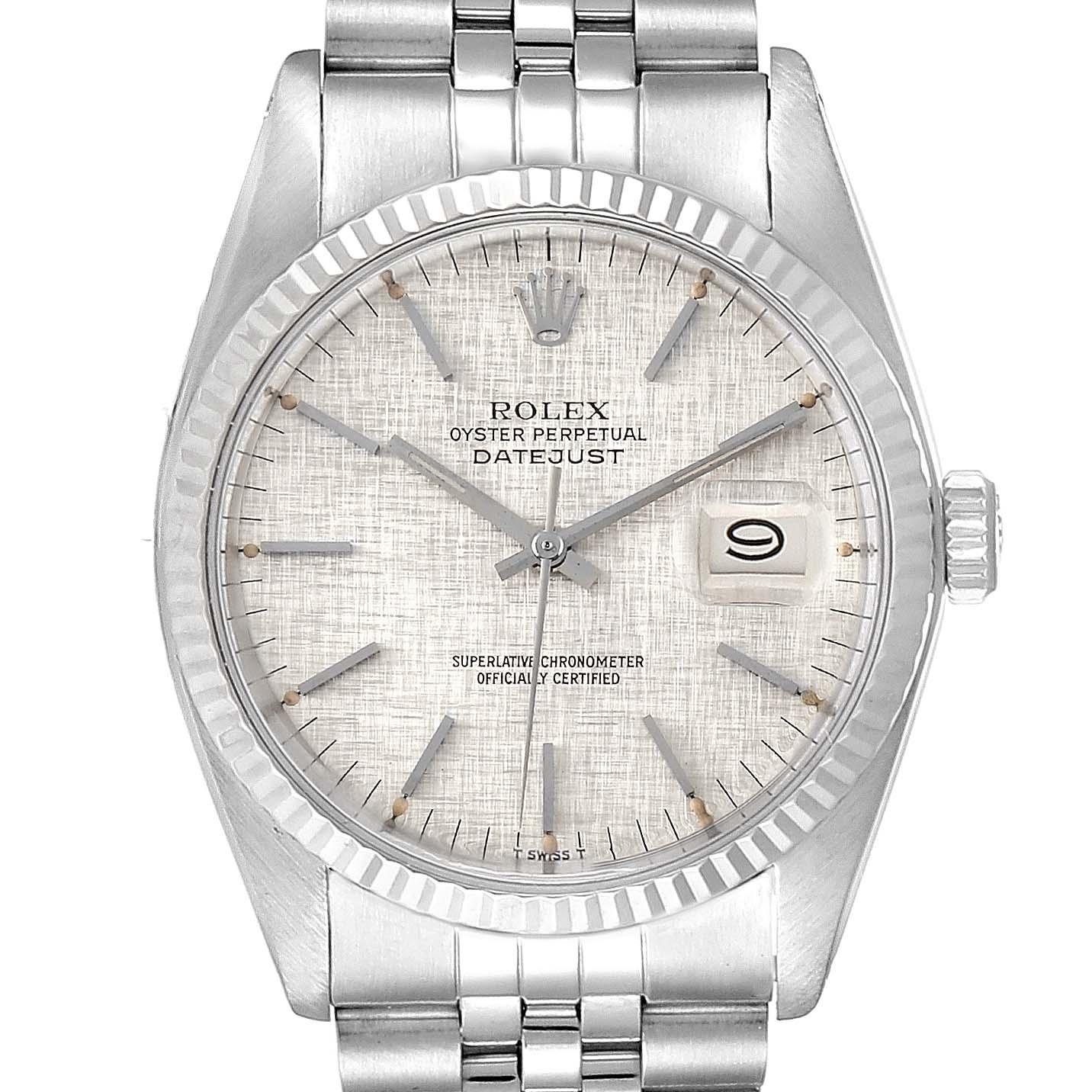 Rolex Datejust Linen Dial Steel White Gold Vintage Mens Watch 16014