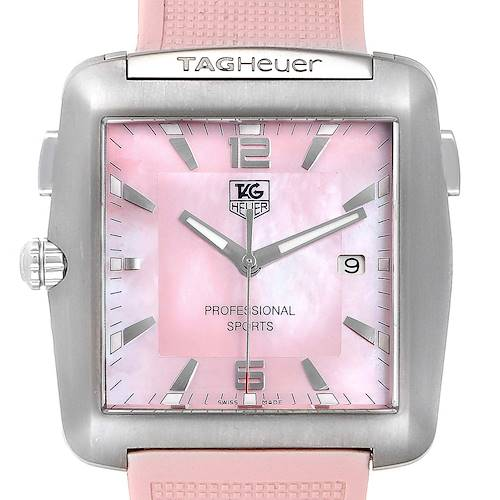 Photo of Tag Heuer Monaco Pink Mother of Pearl Rubber Ladies Watch WAE1114