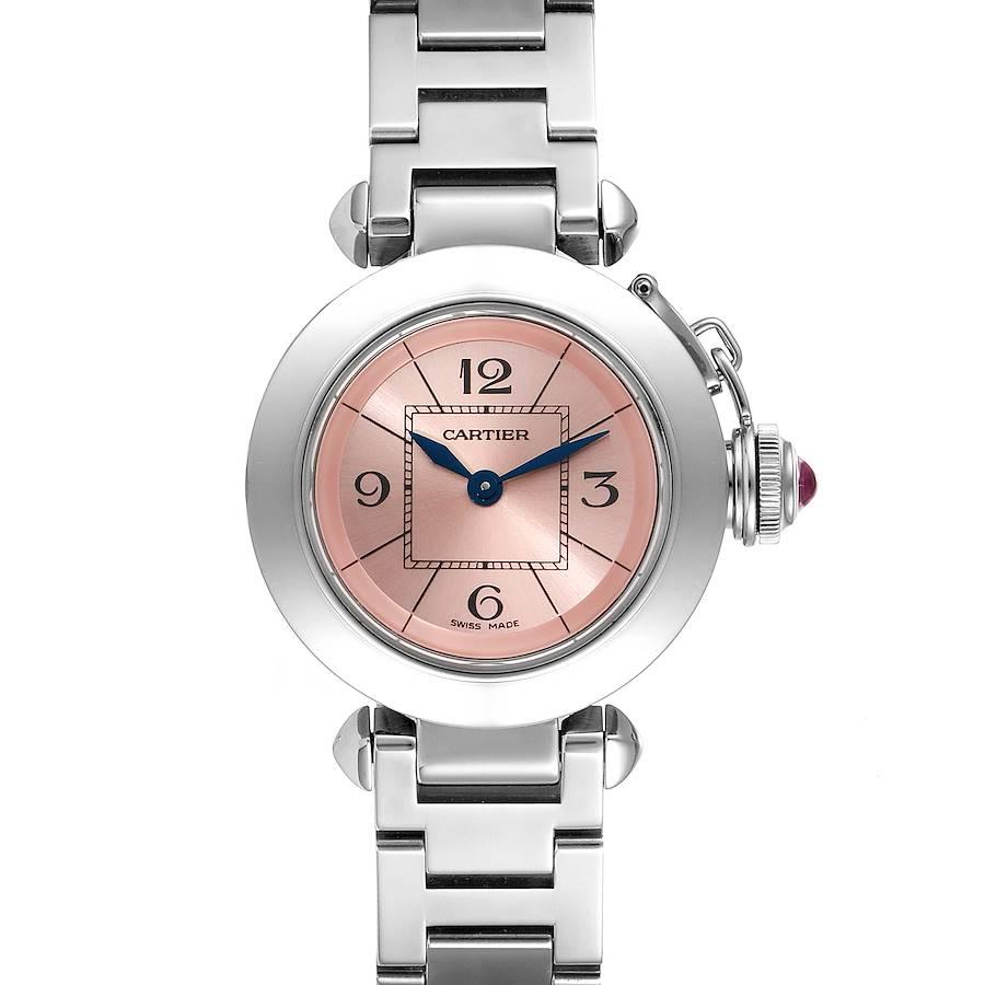 Cartier Miss Pasha Steel Pink Dial Quartz Ladies Watch W3140008 SwissWatchExpo