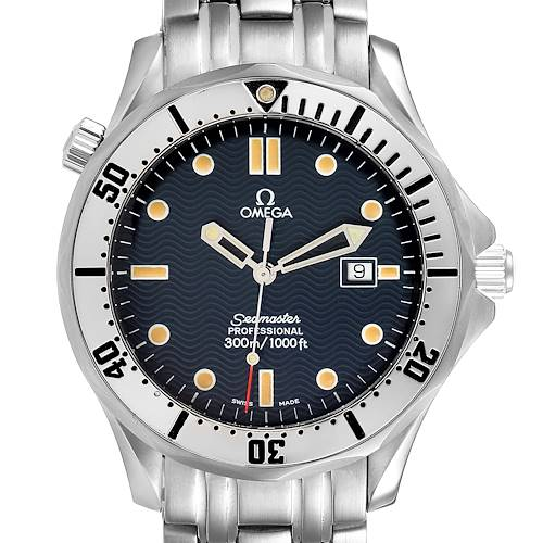 Photo of Omega Seamaster 300m Blue Wave Dial 41mm Mens Watch 2542.80.00 Card