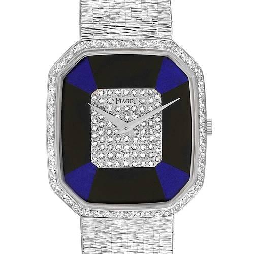 Photo of Piaget White Gold Onyx Lapis Lazuri Dial Diamond Vintage Cocktail Watch 9795