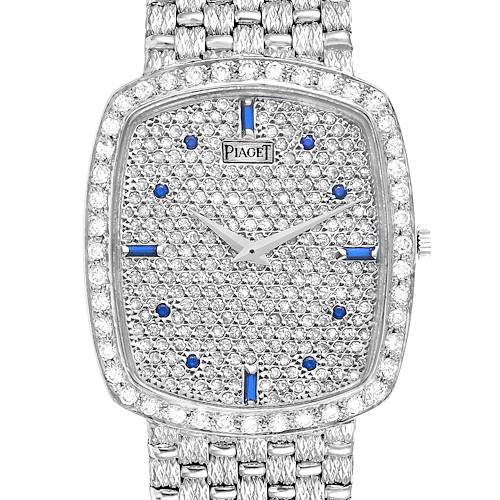 Photo of Piaget White Gold Pave Diamond Sapphire Dial Vintage Cocktail Watch 9741