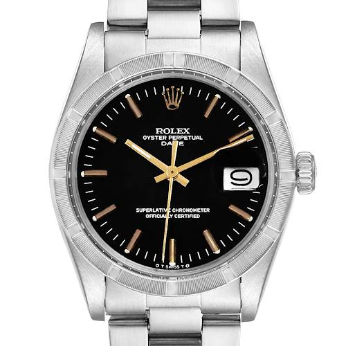 Photo of Rolex Date Vintage Black Sigma Dial Stainless Steel Mens Watch 1501