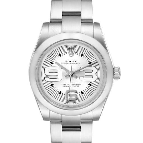 Photo of Rolex Midsize 31 Silver Dial Domed Bezel Steel Ladies Watch 177200