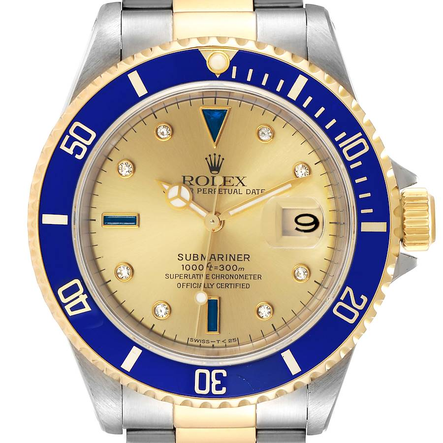 Rolex Submariner Steel Gold Diamond Sapphire Serti Dial Watch 16613 SwissWatchExpo