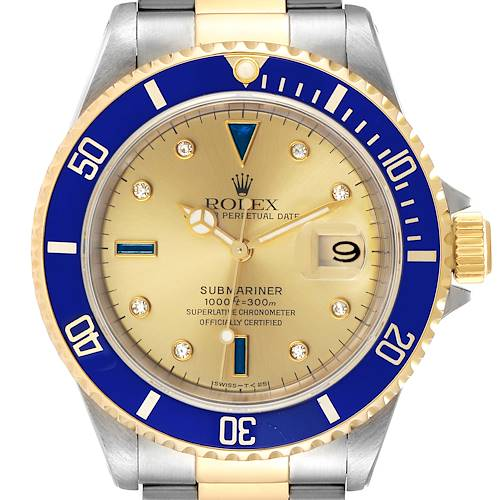 Photo of Rolex Submariner Steel Gold Diamond Sapphire Serti Dial Watch 16613