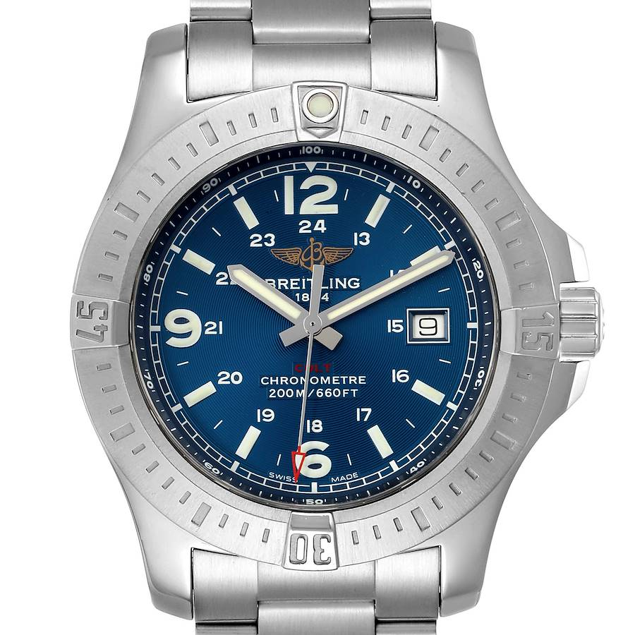 Breitling Colt Blue Dial Stainless Steel Mens Watch A74388 Box Papers SwissWatchExpo