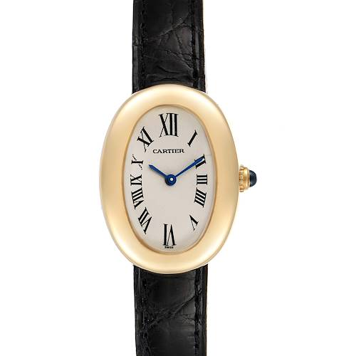 Photo of Cartier Baignoire Silver Dial Black Strap Yellow Gold Ladies Watch 1954