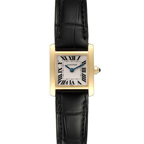 Photo of Cartier Tank Francaise Yellow Gold Black Strap Ladies Watch W5000256