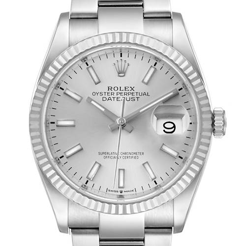 Photo of Rolex Datejust Steel White Gold Silver Dial Mens Watch 126234