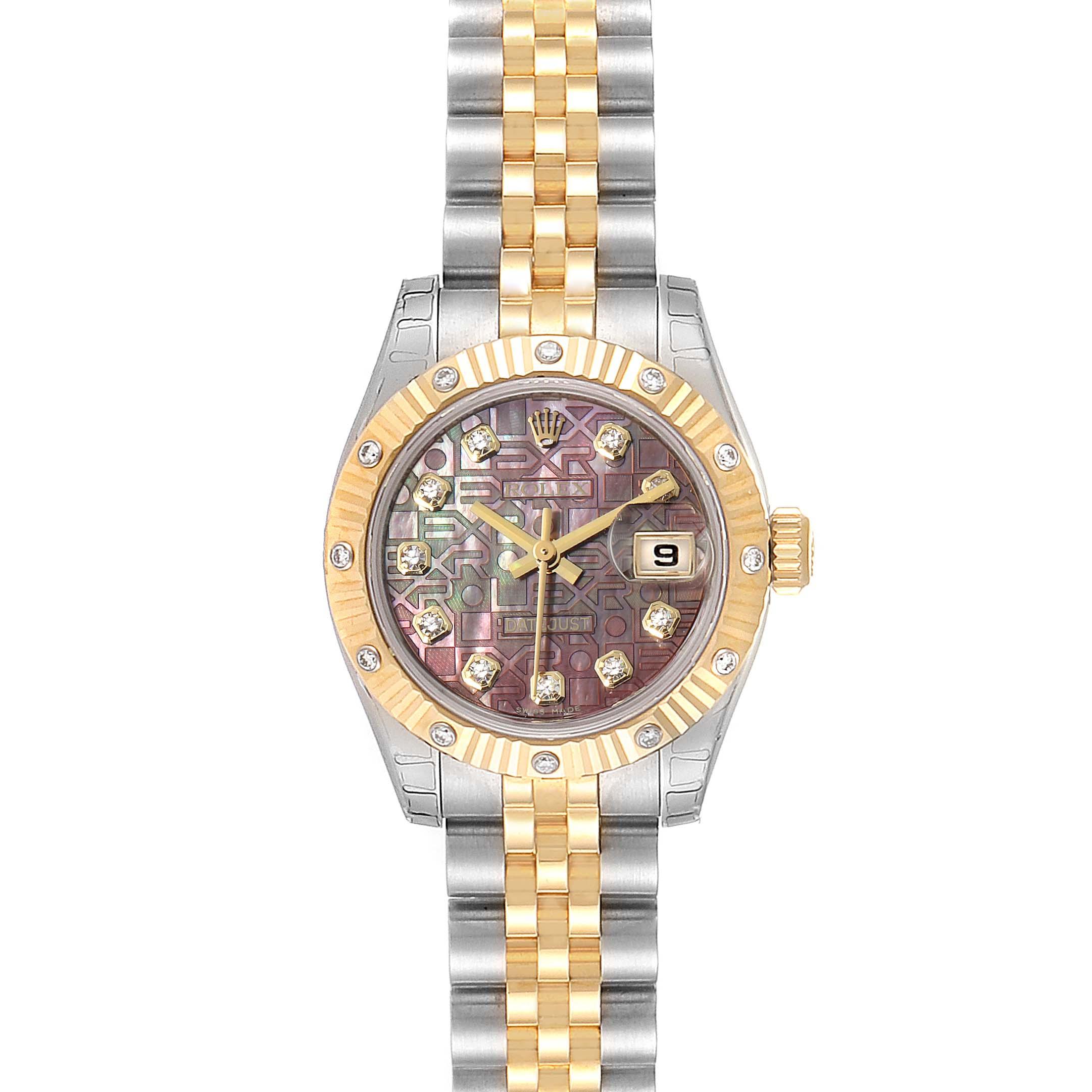 Rolex Datejust Steel Yellow Gold Diamond Ladies Watch 179313 Unworn