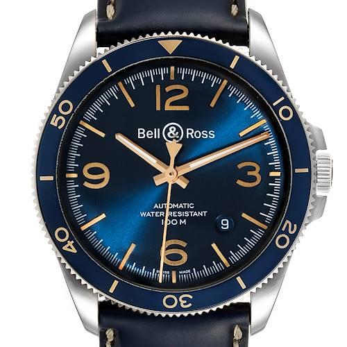 Photo of Bell & Ross Heritage Aeronavale Blue Dial Steel Watch BRV2-92 Box Papers