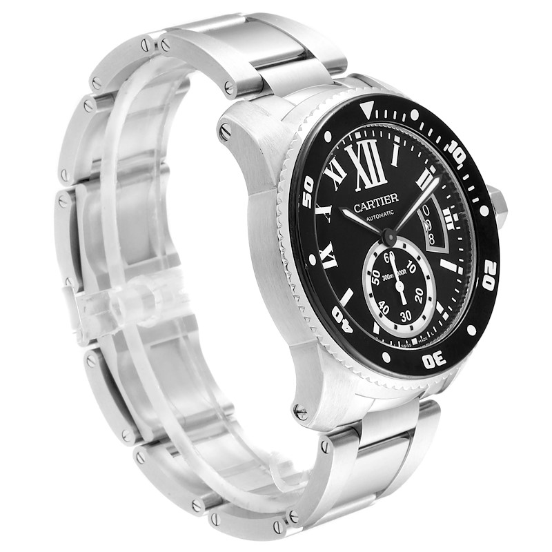 Cartier Calibre Black Dial Automatic Steel Mens Watch W7100057 Box Card SwissWatchExpo