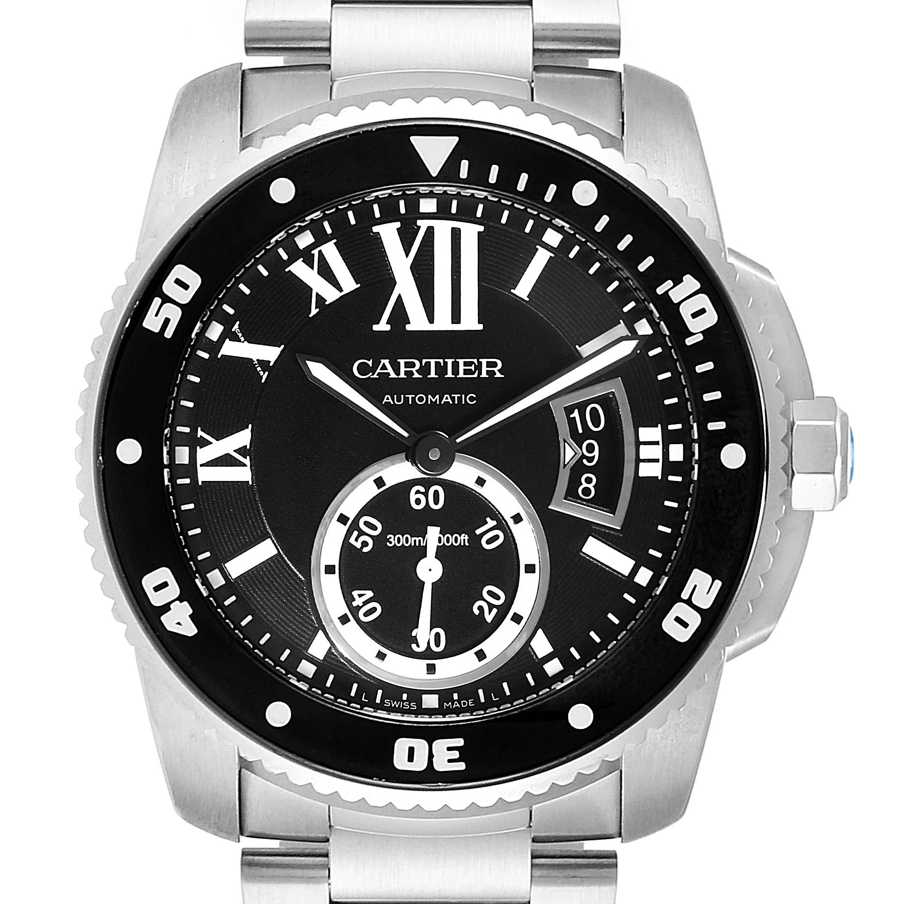 Cartier Calibre Black Dial Automatic Steel Mens Watch W7100057 Box Card