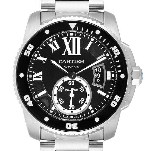 Photo of Cartier Calibre Black Dial Automatic Steel Mens Watch W7100057 Box Card