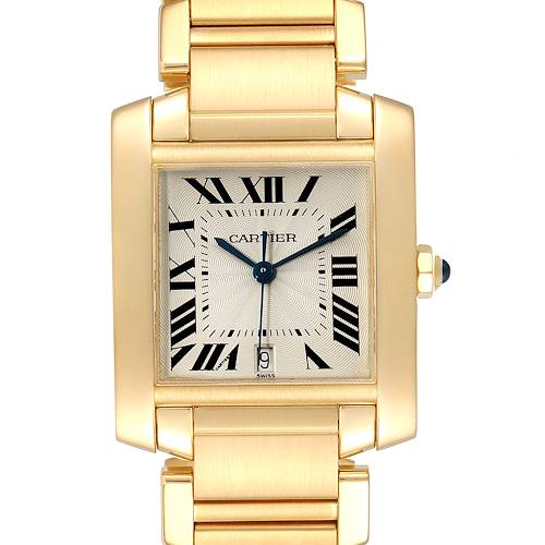 Photo of Cartier Tank Francaise Large Yellow Gold Silver Dial Mens Watch W50001R2