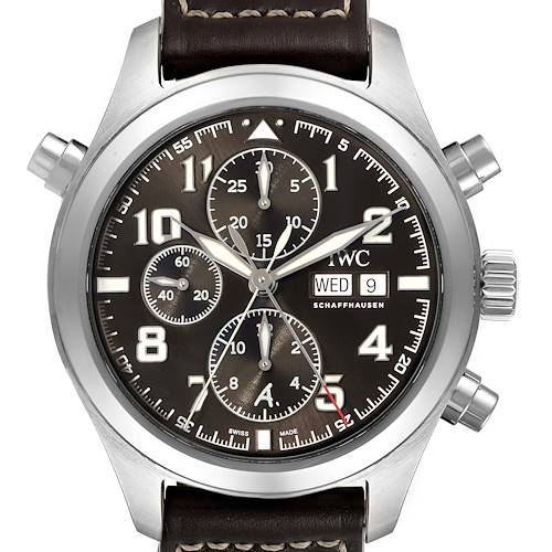 Photo of IWC Spitfire Pilot Saint Exupery Rattrapante Mens Watch IW371808 Box Card
