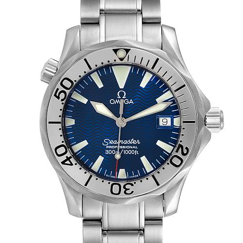 Photo of Omega Seamaster Electric Blue Wave Dial Midsize Watch 2263.80.00