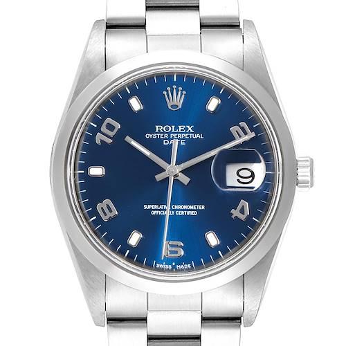 Photo of Rolex Date Blue Arabic Dial Steel Mens Watch 15200 Box