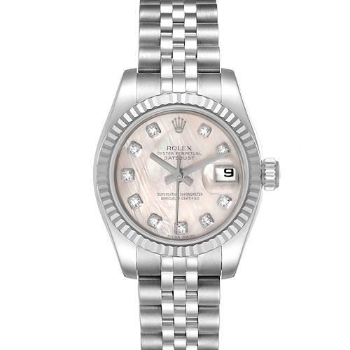 Photo of Rolex Datejust Steel White Gold MOP Diamond Ladies Watch 179174