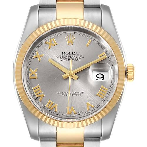 Photo of Rolex Datejust Steel Yellow Gold Slate Roman Dial Mens Watch 116233