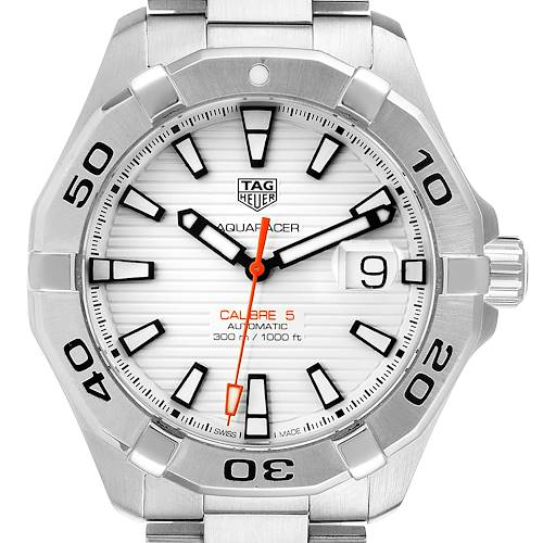 Photo of Tag Heuer Aquaracer White Dial Steel Mens Watch WAY2013 Box Card