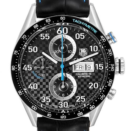 Photo of Tag Heuer Carrera Day Date Chronograph Steel Mens Watch CV2A16 Card