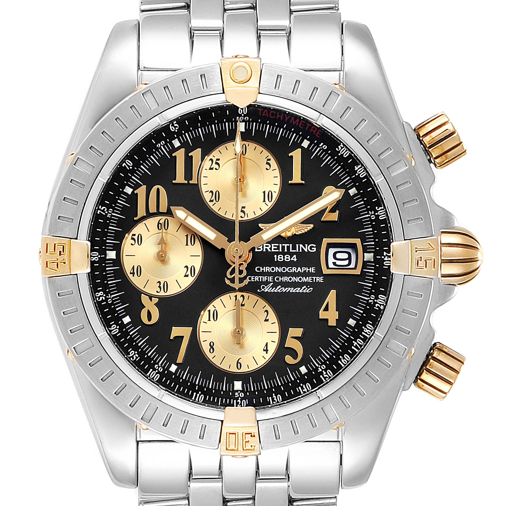 Breitling Chronomat Steel 18K Yellow Gold Black Dial Mens Watch B13356