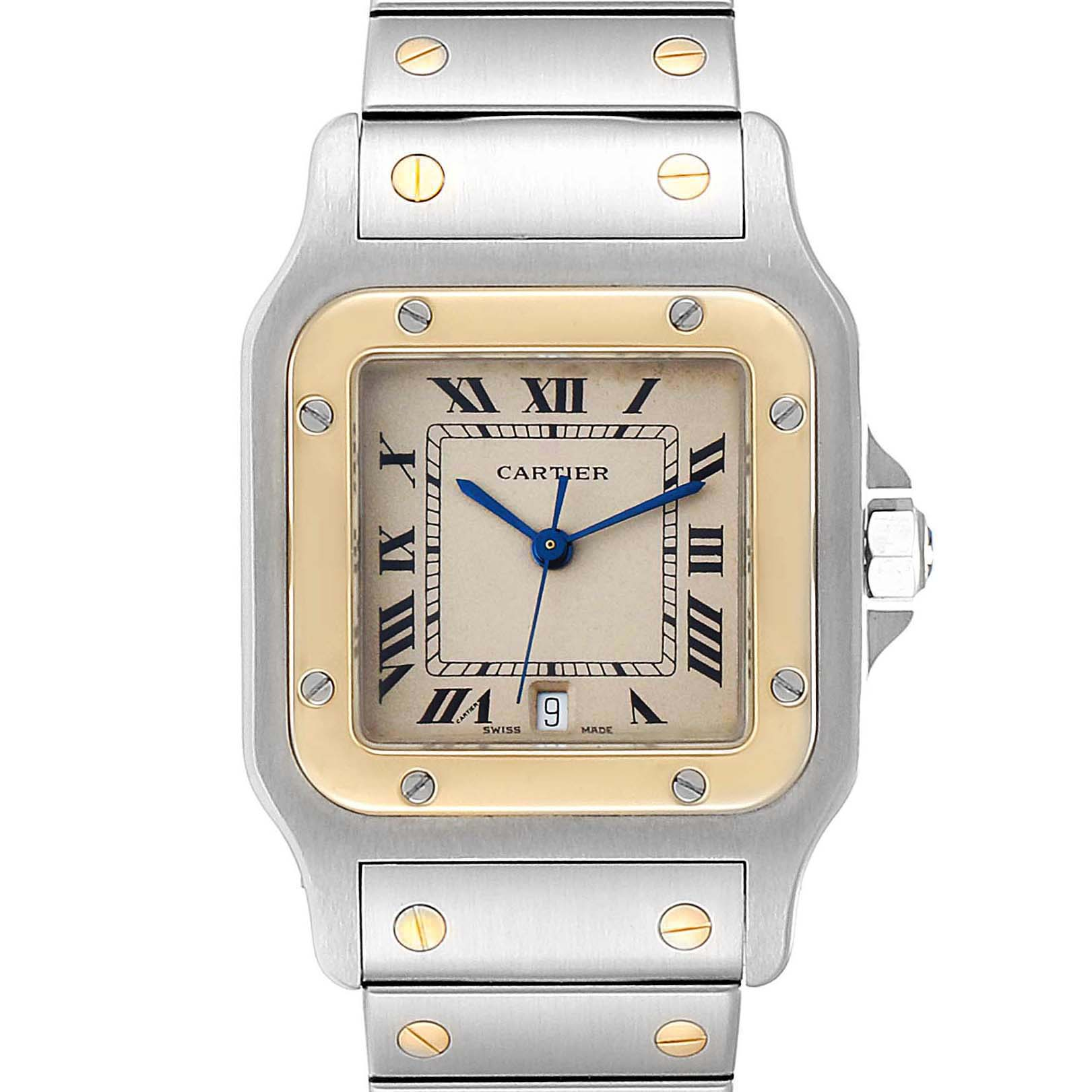 Cartier Santos Galbee 29mm Steel Yellow Gold Mens Watch 187901 SwissWatchExpo